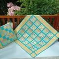 No 66 - Quilt /play mat orange/green/blue giraffe spots/stripes AND CUSHION