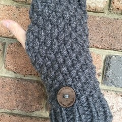 Grey merino fingerless gloves handwarmers men's ladies