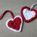 Crochet Christmas Decorations - Set of 2 hearts