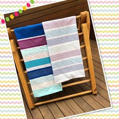 Made to order -DELUXE 4 PANEL Handmade -Fabric Kids Cubby Kit-Purple/Blue Stripe