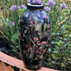 Decoupage Small Vase - black forest