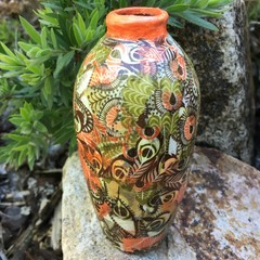 Decoupage Small Vase - orange feathers