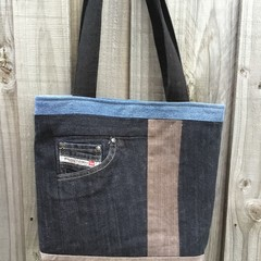 Upcycled Denim Tote Bag - Multi