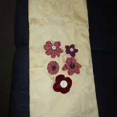 DEEP SLING BAG - Ivory with Fabric Flowers and Across the Body Strap