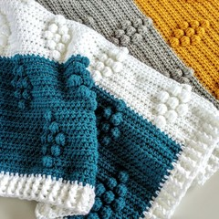 Teal, Mustard, Grey & White Chunky Newborn Hand Crocheted Bobble Baby Blanket