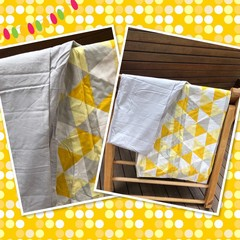 Made to order LARGER SIZE Handmade Fabric Kids Cubby Kit-Yellow/Grey Print