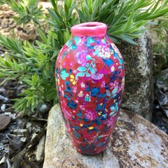 Decoupage Small Vase - wall flowers