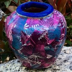 Decoupage Petite Urn - purple feathers
