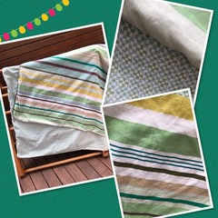 Made to order LARGER SIZE Handmade Fabric Kids Cubby Kit-Green stripe print