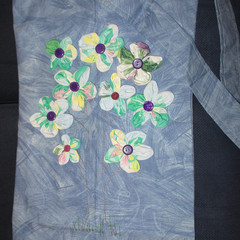 DEEP SLING BAG - Blue with Fabric Flowers and Across the Body Strap