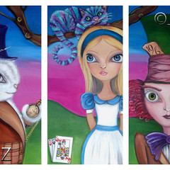 """Alice in Wonderland Triptych"" Art Print by Jaz Higgins Mad Hatter White Rabbit"