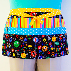 Preschool teacher utility daycare lined apron - 6 pockets - Monsters