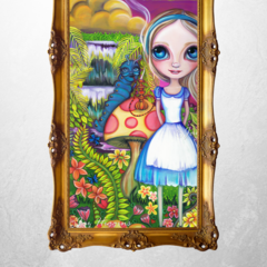 """Alice and Absolem"" Art Print by Jaz Higgins - Alice in Wonderland Caterpillar"
