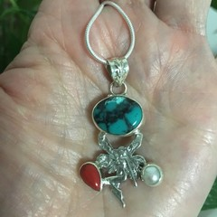 Turquoise Coral and Freshwater Pearl 925 Teardrop Fairy Necklace