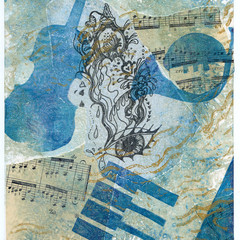 MUSICAL MEMORIES 4 - AN ORIGINAL FAUX CHINE COLLE MONOPRINT
