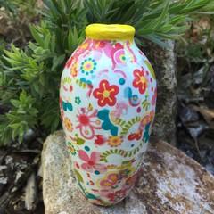 Decoupage Small Vase - hippy flowers