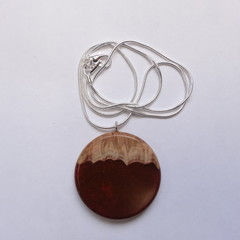 Mallee Burl wood with Wine Red resin mix Pendant.