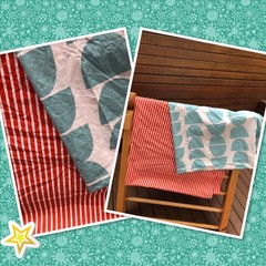 Made to order LARGER SIZE Handmade Fabric Kids Cubby Kit-Red/Teal print