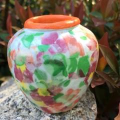 Decoupage Petite Urn - field of flowers