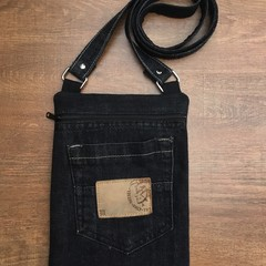 Upcycled Black Denim Cross Body Bag