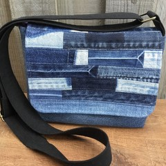 Upcycled Denim Small Messenger