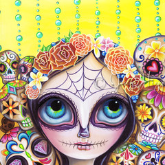 """Sugar Skull Princess"" Art Print by Jaz Higgins - Day of the Dead Skeleton Girl"