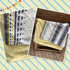 Made to order LARGER SIZE Handmade Fabric Kids Cubby Kit-Yellow/Blue Tribal