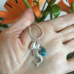 Sterling Silver Blue Copper Turquoise Mermaid Gemstone Necklace