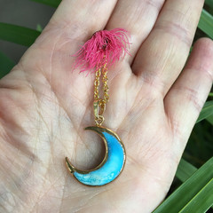 Turquoise Crescent Moon Celestial Necklace