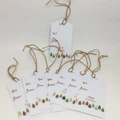 Christmas Tags (8) - White with Washi tape trees