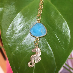 Turquoise Seahorse Charm Necklace