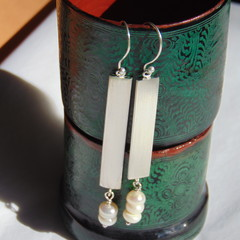 Fresh-water pearl and fine silver drop earrings