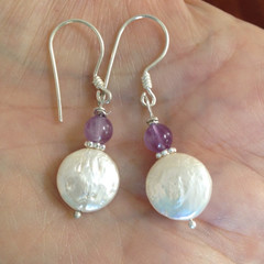Coin Pearl Amethyst Gemstone Earrings