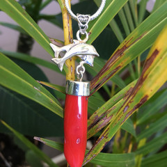 925 Coral Spike Dolphin Necklace