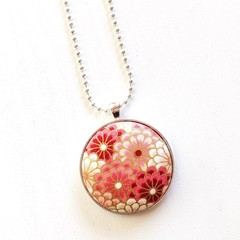 Silver Plated Pendant Necklace - Soft Pink, White & Gold (Asian Inspired Fabric)
