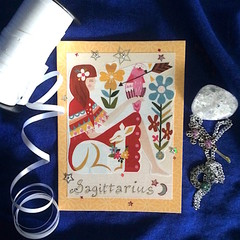 'Sagittarius Motif' on Red, Blue and Silver Birthday Card