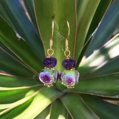Amethyst Purple Flower Lampwork Bead Earrings