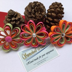 Ribbon Flower Hair Clips