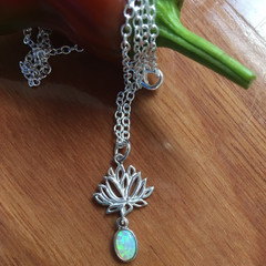 Sterling Silver Opal Lotus Necklace