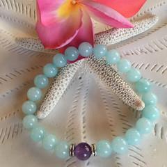 Amethyst Aquamarine Bead Yoga Bracelet