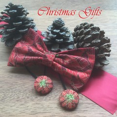 Christmas Fabric Hair Bow and Hair Ties