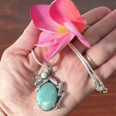Frog Sterling Silver Amazonite Frog Necklace