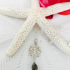 Sterling Silver Black Rutilated Quartz Om Charm Necklace