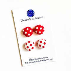 Medium stud pack - white & red polka