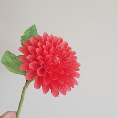 Red Dahlia || single stem red dahlia, crepe paper flowers, floral home decor.