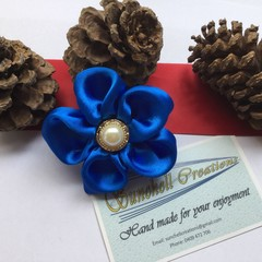 Blue Satin Ribbon Flower Hair Clip