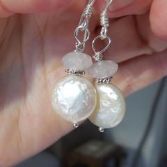 Rose Quartz Coin Pearl Gemstone Earrings