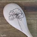 Wood Burnt Poppy Wooden Spoon