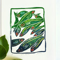 Syros Sardines - Original linoprint - Fish painting - Seaside Wall Art