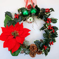 Christmas Wreath (32 cms) Red Poinsettia Holly Berries and Pine Cones